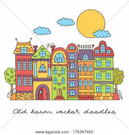 Old european city town colorful cute buildings street doodle drawing vector illsutration