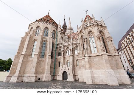 St. Matthias Church in the Fisherman's Bastion in Budapest, Hungary. Cloudy weather, dramatic sky