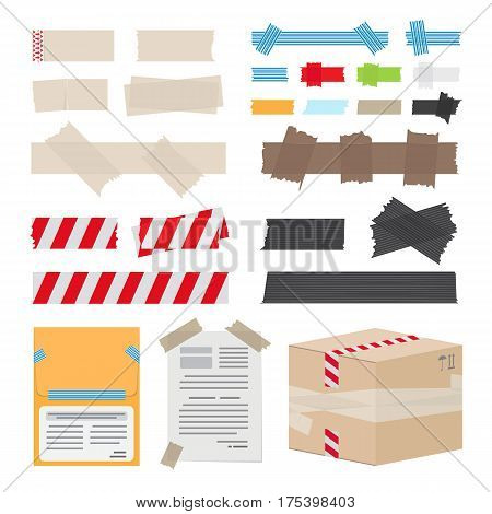 Set of different scotch tape on white background. Vector illustration can be used to stick documents, to protect box in post office, to fence dangerous territory from people, to decorate room.