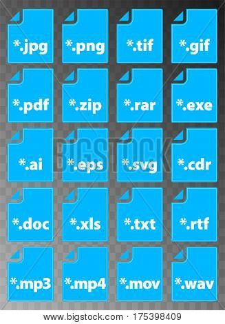Collection of file type icons in blue rectangles on transparency background - vector illustration