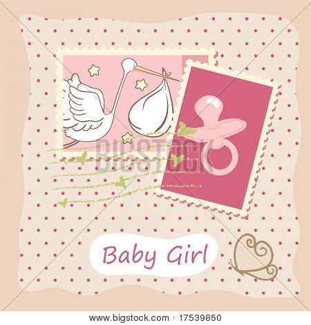 Baby Mädchen Karte mit Stempel