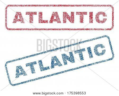 Atlantic text textile seal stamp watermarks. Blue, red fabric vectorized texture. Vector caption inside rounded rectangular shape. Rubber sticker with fiber textile structure.