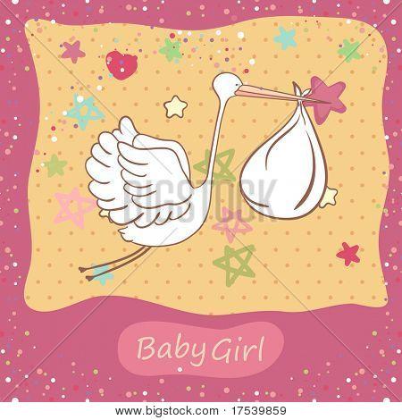 Baby Mädchen Karte mit Storch