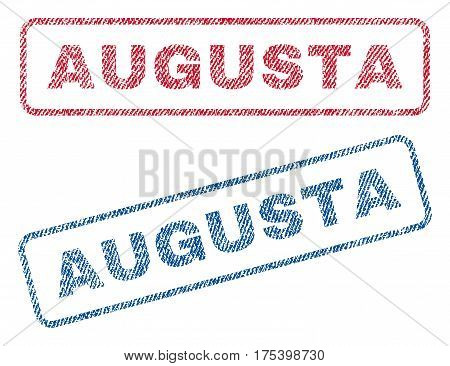 Augusta text textile seal stamp watermarks. Blue, red fabric vectorized texture. Vector tag inside rounded rectangular banner. Rubber sign with fiber textile structure.