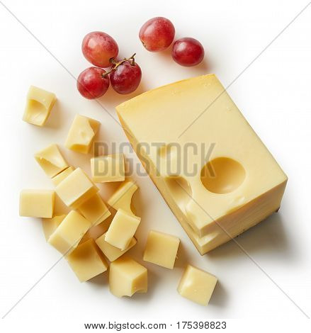 Piece And Cubes Of Swiss Cheese