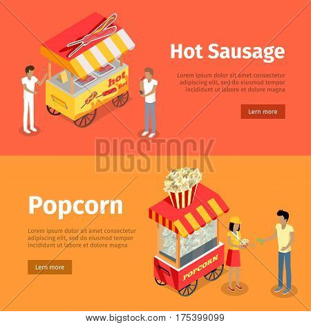 Hot sausage and popcorn mobile umbrella carts. Vector purchasing deal between people buying hotdogs on sticks and popcorn near thematically decorated colourful stalls on orange and yellow backgrounds.