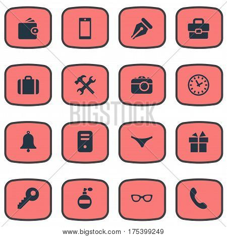 Vector Illustration Set Of Simple  Icons. Elements Digital Camera, Call Button, System Unit And Other Synonyms Billfold, Handbag And Fragrance.