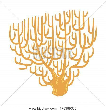 Yellow Fan Coral, Tropical Reef Marine Invertebrate Animal Isolated Vector Icon. Underwater Warm Water Nature And Marine Fauna Cartoon Simplified Illustration.