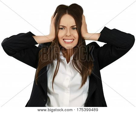 Embarrassed Businesswoman with Hands on Head - Isolated