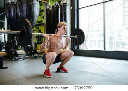 Athletic man which crouches with barbell in gym