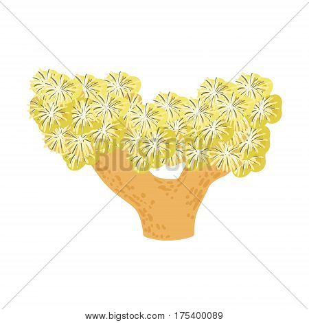 Yelow Star Soft Coral, Tropical Reef Marine Invertebrate Animal Isolated Vector Icon. Underwater Warm Water Nature And Marine Fauna Cartoon Simplified Illustration.