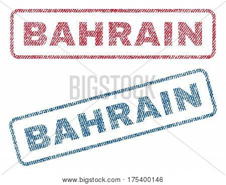 Bahrain text textile seal stamp watermarks. Blue, red fabric vectorized texture. Vector caption inside rounded rectangular shape. Rubber emblem with fiber textile structure.
