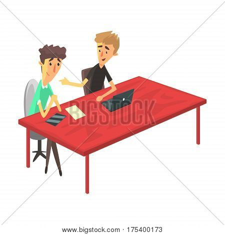 Two Guys Behind The Desk With Devices Chatting, Young People Coworking In Informal Atmosphere Sharing Ideas And Experiences. Efficient Space Management And Co-Working Vector Illustration.