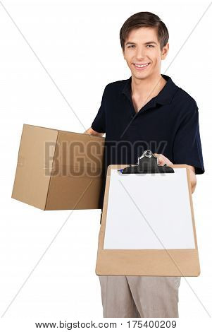 Deliveryman Handing a Cliboard and Holding a Box