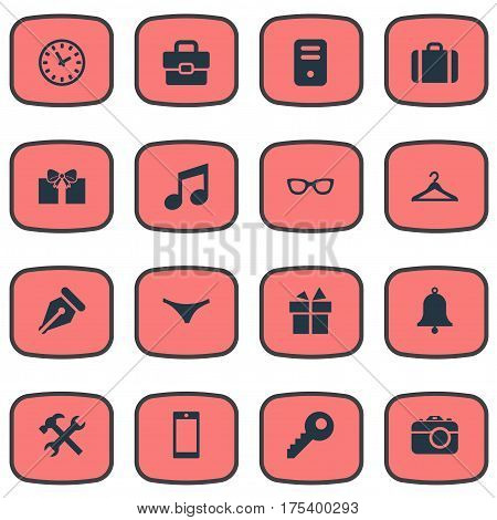Vector Illustration Set Of Simple  Icons. Elements Password, Hanger, Present And Other Synonyms Photo, Case And Bag.