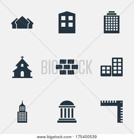Vector Illustration Set Of Simple Construction Icons. Elements Stone, Shelter, Academy And Other Synonyms Shanty, Ruler And Architecture.
