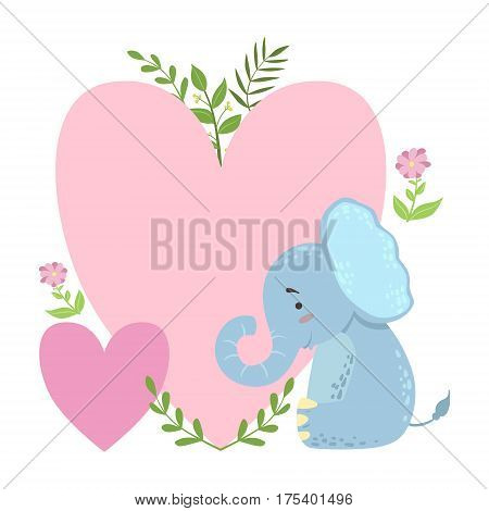 Elephant With Two Big Hearts And Plants Vector Sticker, Template St. Valentines Day Message Element Missing Text With Cute Animal Character. Cartoon Design Blank Note With Summer Flowers And Leaves And Love Symbols.