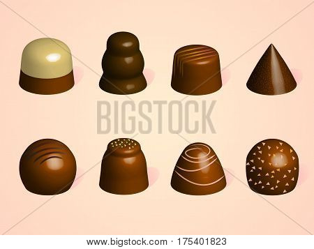 Set of chocolate candies. Different forms of candies. Candies from dark milk and white chocolate on pink background.