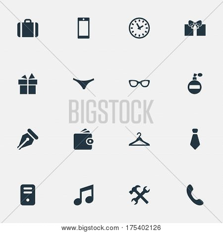 Vector Illustration Set Of Simple Accessories Icons. Elements Cravat, Repair, Underwear And Other Synonyms Repair, Giveaways And Suitcase.