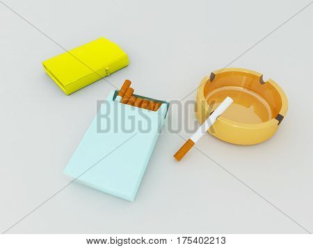 3D Render Of A Blue Pack Of Cigarettes, Golden Lighter And Orange Gass Ashtray