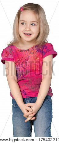 Little Girl Standing with Clasped Hands - Isolated