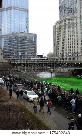 Michigan Avenue Bridge and the Dying of the Chicago River Green March 15th, 2008