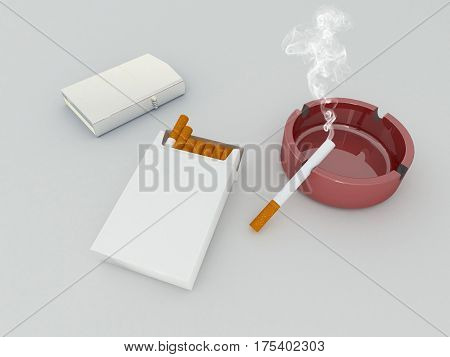 3D Render Of A White Pack Of Cigarettes, Silver Lighter And Red Glass Ashtray