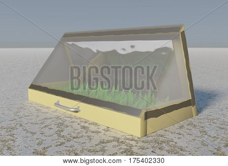 Mini greenhouse for growing seedlings is covered with plastic, installed in vegetable garden in early spring
