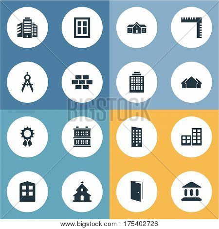 Vector Illustration Set Of Simple Structure Icons. Elements Popish, Reward, Booth And Other Synonyms Residence, Apartment And Glazing.