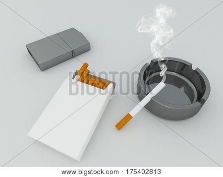 3D Render Of A White Pack Of Cigarettes, Silver Lighter And Black Glass Ashtray
