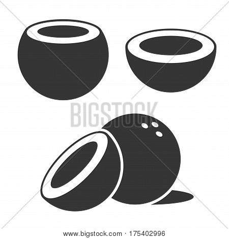 Coconut Icons set on White Background. Vector illustration