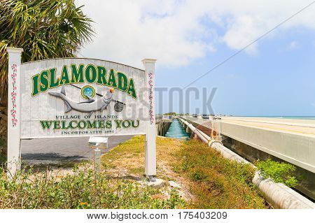 ISLAMORADA USA - MAY 18 2016: A Islamorada Welcome-Sign at the Overseas Highway in the Florida Keys USA.