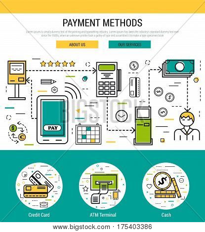 Vector header template for payment methods banking operationst. First screen of the web site and icons for financial and bank equipment and transactions in thin line style