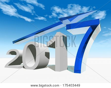 Conceptual 3D illustration blue 2017 year symbol with an arrow on background for economy, finance, corporate, growth, future, goal, progress, success, improvement or profit