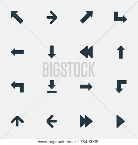 Vector Illustration Set Of Simple Indicator Icons. Elements Right Direction, Pointer, Pointer And Other Synonyms Direction, Arrow And Upward.