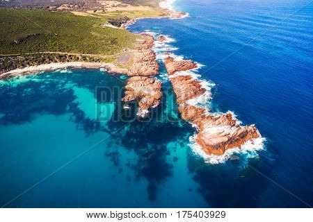 Aerial photograph of Canal Rocks in the south west of Western Australia near Margaret River and Dunsborough.