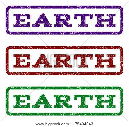 Earth watermark stamp. Text tag inside rounded rectangle with grunge design style. Vector variants are indigo blue, red, green ink colors. Rubber seal stamp with dust texture.