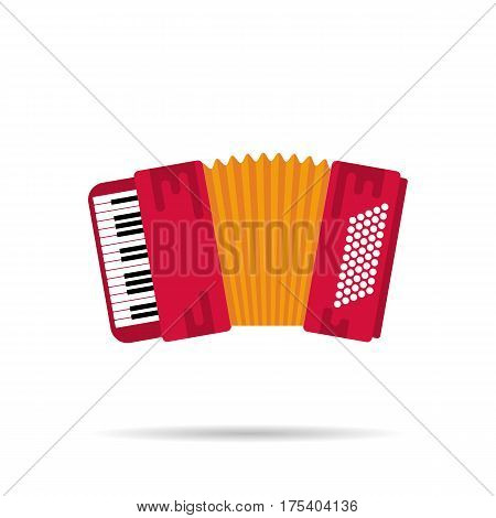 Vector Isolated flat icon of the accordion. Musical instruments
