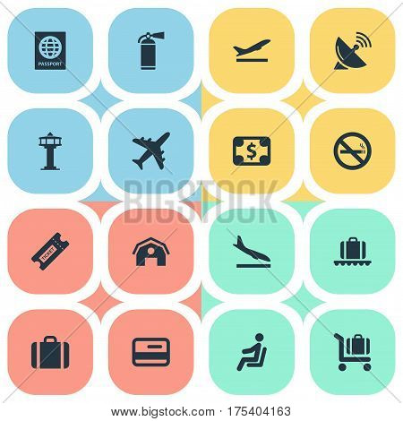 Vector Illustration Set Of Simple Transportation Icons. Elements Certificate Of Citizenship, Coupon , Handbag Synonyms Pass, Fire And Sputnik.