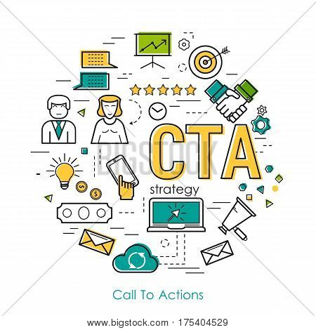 Vector Call To Actions Strategy Round Concept in Thin Line Art Style. Letters CTA and set of business icons - megaphone businessman scheme settings and growth graph