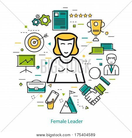 Vector thin line round concept of Female Business Leader. Lady director or manager supervisor with many office pictograph