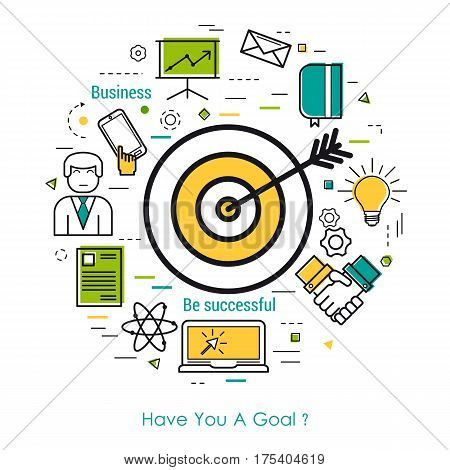 Vector concept of Value of goals Round Concept in Thin Line Art Style. Target with arrow and business icons - document computer mobile and man user