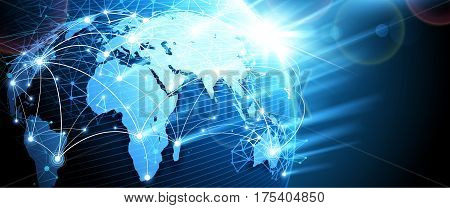 Internet technology, Digital network background, World map point. Vector illustratio