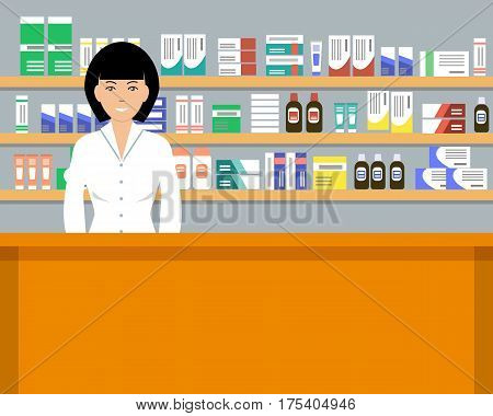 Web banner of a pharmacist. Young woman in the workplace in a pharmacy: standing in front of shelves with medicines. Vector flat illustration
