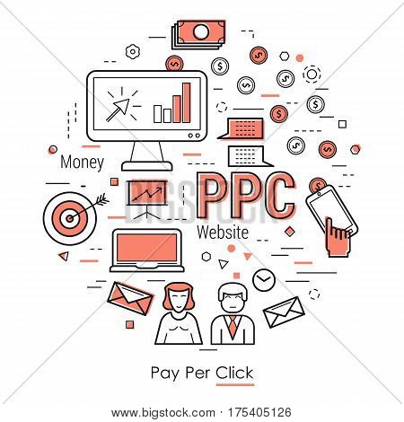 Vector round banner pay per click concept. Letters PPC and coins going from computer to person. Hand makes a click and gets to monetize profit in thin line style on white background
