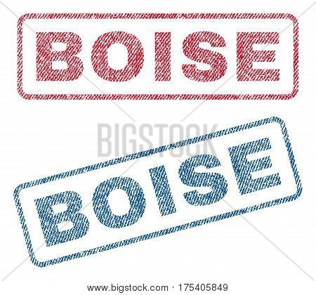 Boise text textile seal stamp watermarks. Blue, red fabric vectorized texture. Vector tag inside rounded rectangular shape. Rubber sign with fiber textile structure.