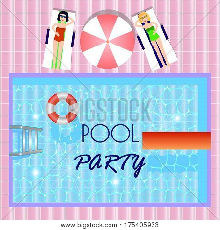 Pool party invitation with top view of pool girls laying in sunbedsvector illustration. Flyer of pool party. Vector poster for party.