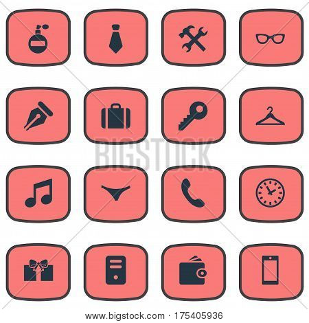 Vector Illustration Set Of Simple Instrument Icons. Elements System Unit, Ink Pencil, Billfold And Other Synonyms Ink, Watch And Key.