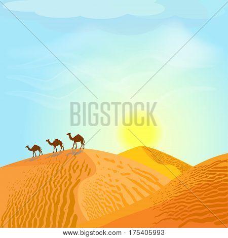 Desert with dunes and camels. Sunset in blue sky. Desert landscape. Vector illustration.