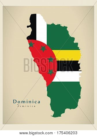 Modern Map - Dominica Flag Colored Dm Illustration Silhouette